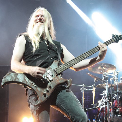Marco on stage for the concert of Nightwish at la Foire aux vins in Colmar, the 5th of august 2012