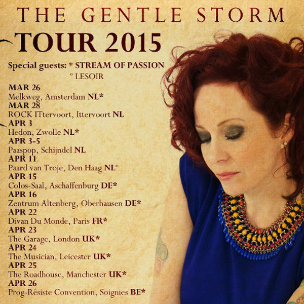 Affiche de tournée 2015 de The Gentle Storm